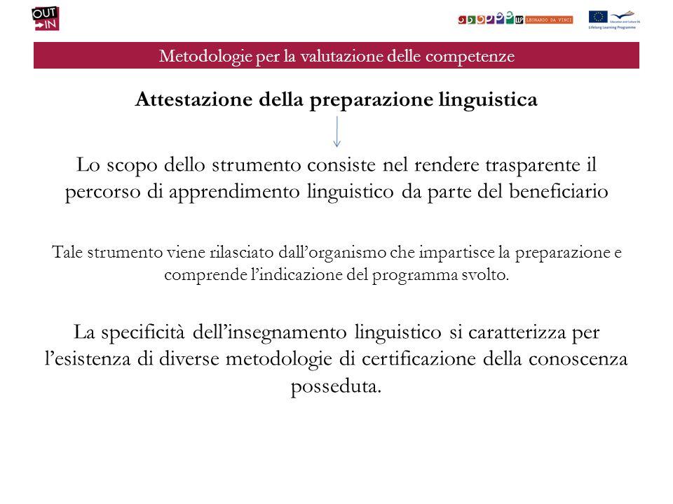 Metodologie per la valutazione delle competenze Attestazione della preparazione linguistica Lo scopo dello strumento consiste nel rendere trasparente