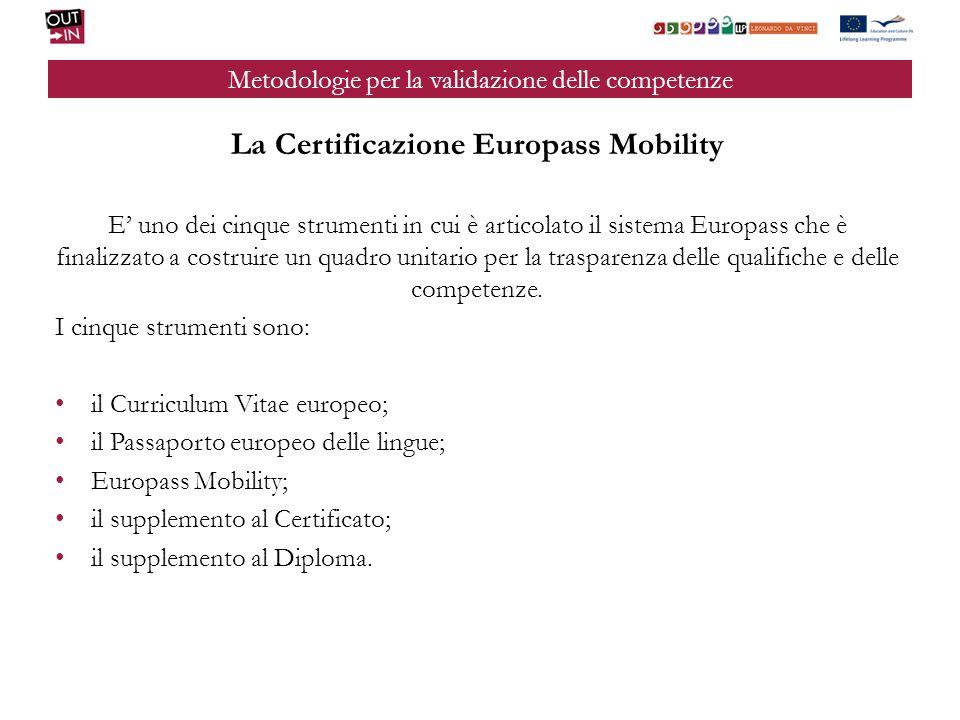 Metodologie per la validazione delle competenze La Certificazione Europass Mobility E uno dei cinque strumenti in cui è articolato il sistema Europass che è finalizzato a costruire un quadro unitario per la trasparenza delle qualifiche e delle competenze.