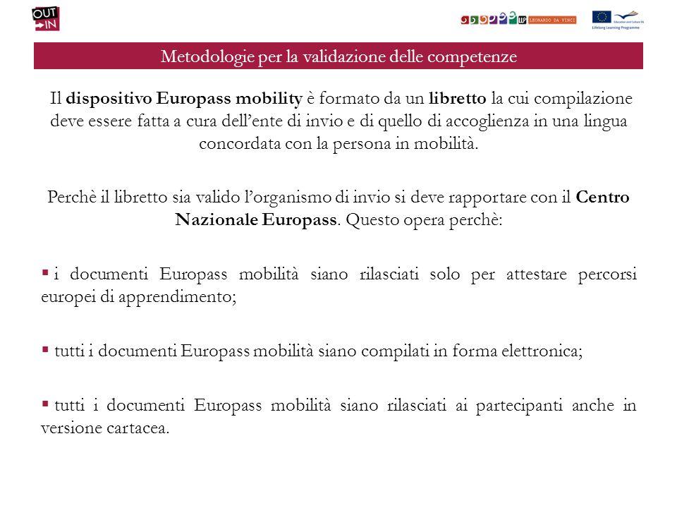 Metodologie per la validazione delle competenze Il dispositivo Europass mobility è formato da un libretto la cui compilazione deve essere fatta a cura