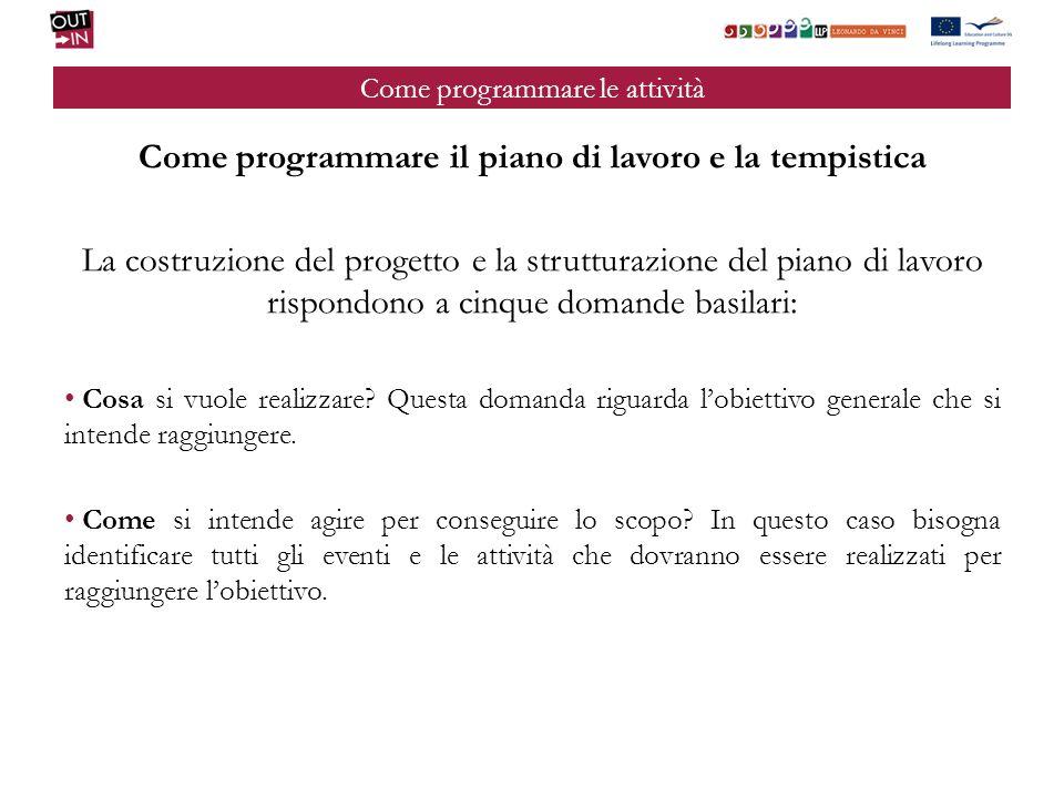 Come programmare le attività Come programmare il piano di lavoro e la tempistica La costruzione del progetto e la strutturazione del piano di lavoro r