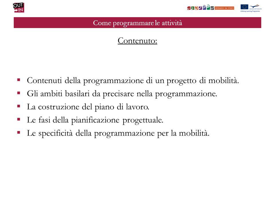 Come programmare le attività Contenuto: Contenuti della programmazione di un progetto di mobilità. Gli ambiti basilari da precisare nella programmazio
