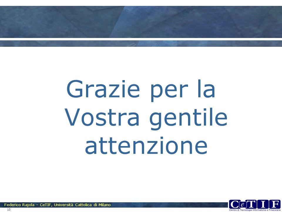 Federico Rajola – CeTIF, Università Cattolica di Milano 10 Grazie per la Vostra gentile attenzione