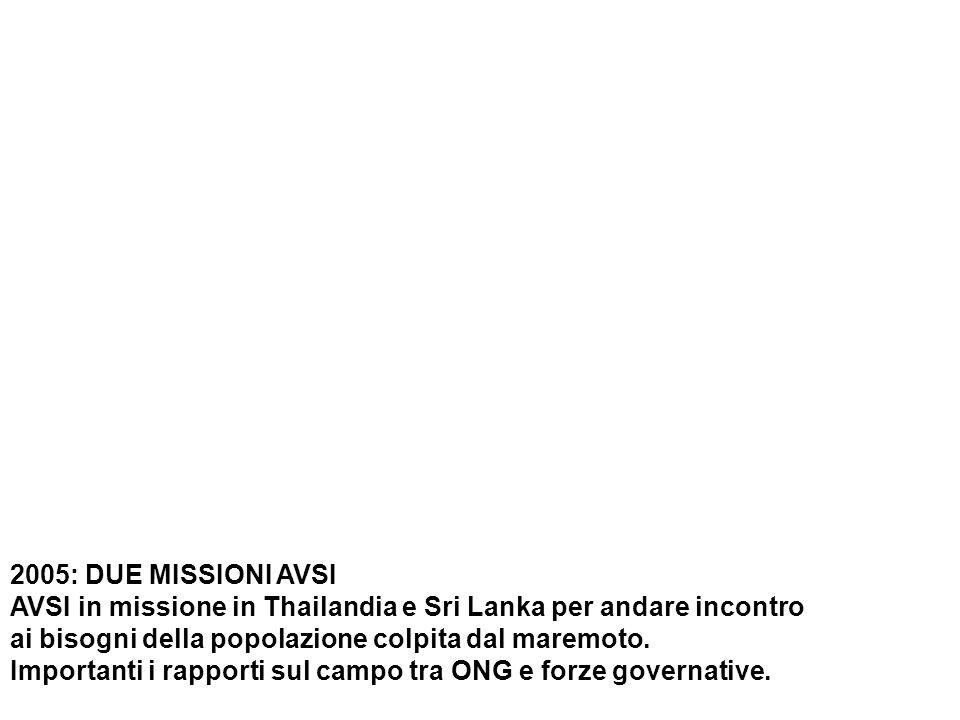 2005: DUE MISSIONI AVSI AVSI in missione in Thailandia e Sri Lanka per andare incontro ai bisogni della popolazione colpita dal maremoto.