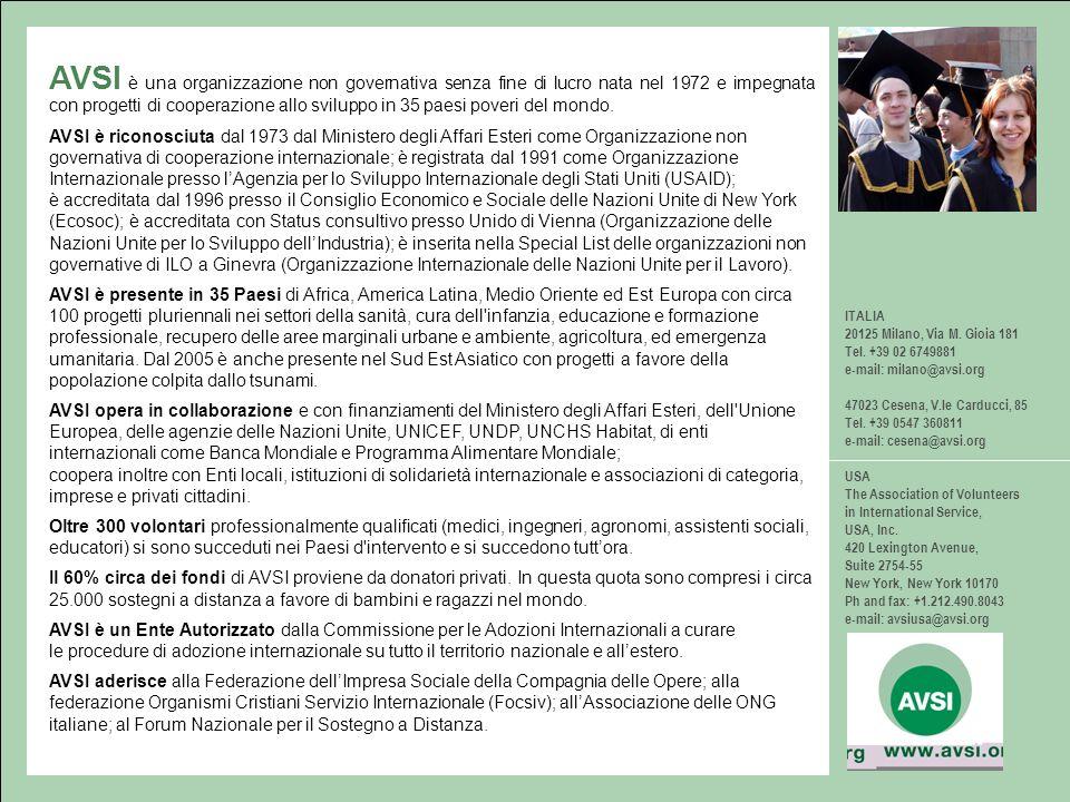 ITALIA 20125 Milano, Via M. Gioia 181 Tel. +39 02 6749881 e-mail: milano@avsi.org 47023 Cesena, V.le Carducci, 85 Tel. +39 0547 360811 e-mail: cesena@