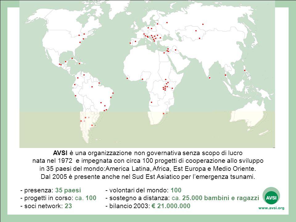 - presenza: 35 paesi - progetti in corso: ca.