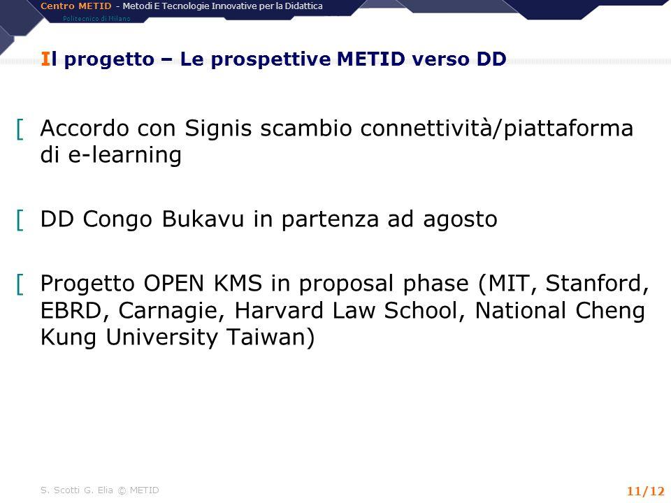 Centro METID - Metodi E Tecnologie Innovative per la Didattica Politecnico di Milano S. Scotti G. Elia © METID 11/12 Il progetto – Le prospettive METI