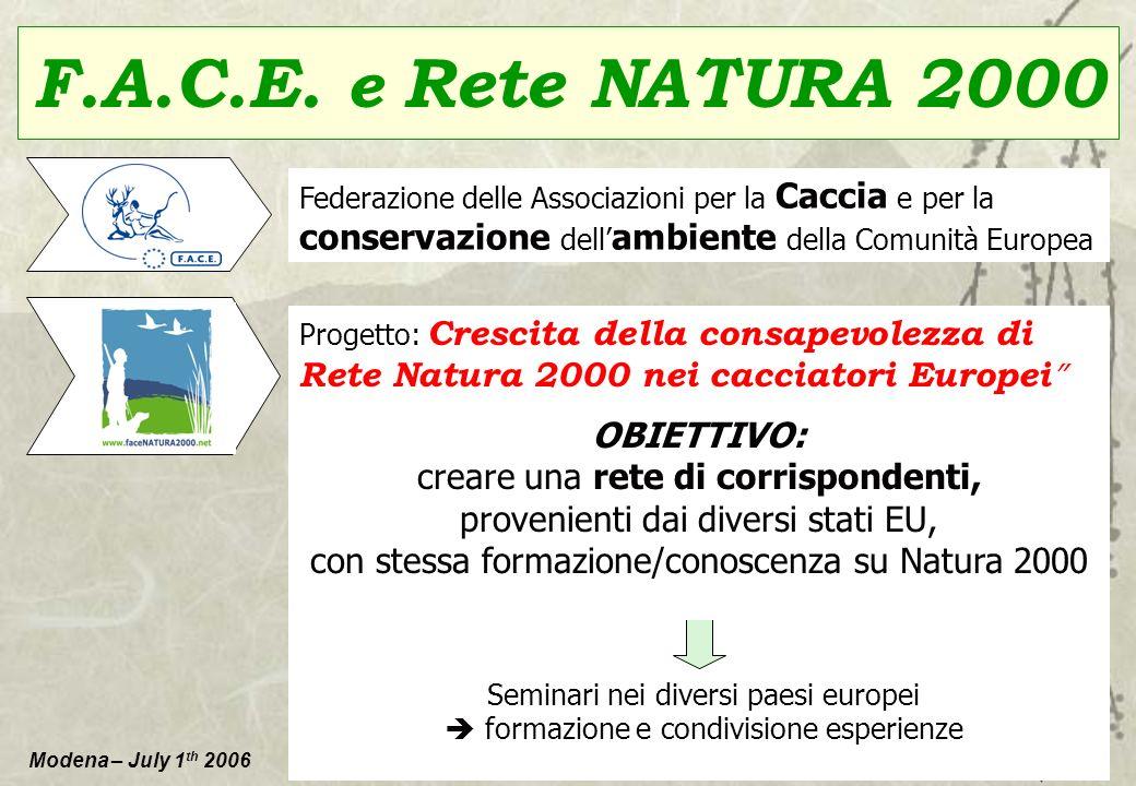 Modena – July 1 th 2006 F.A.C.E. e Rete NATURA 2000 Federazione delle Associazioni per la Caccia e per la conservazione dell ambiente della Comunità E