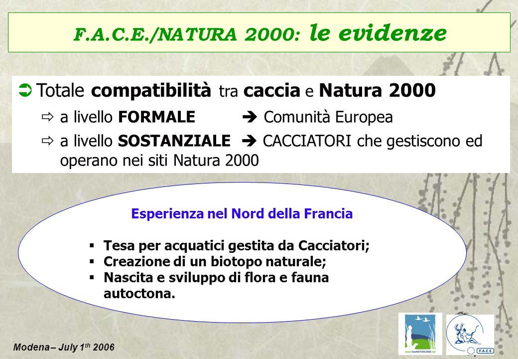 Modena – July 1 th 2006 F.A.C.E./NATURA 2000: le evidenze Totale compatibilità tra caccia e Natura 2000 a livello FORMALE Comunità Europea a livello S