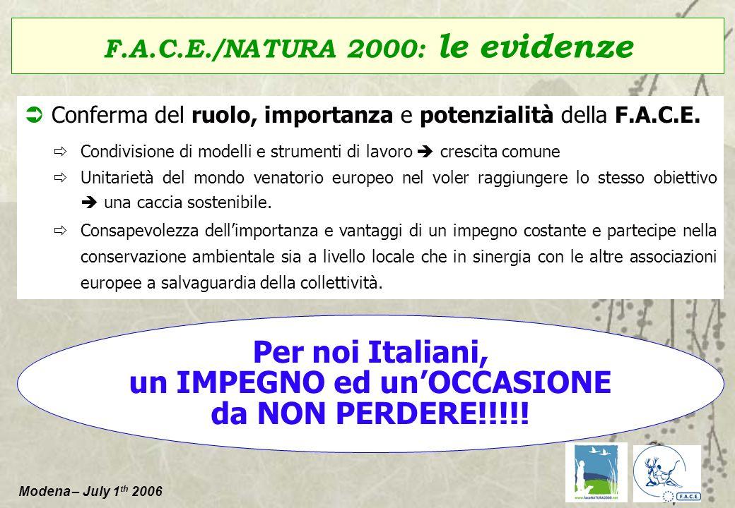 Modena – July 1 th 2006 Conferma del ruolo, importanza e potenzialità della F.A.C.E. Condivisione di modelli e strumenti di lavoro crescita comune Uni