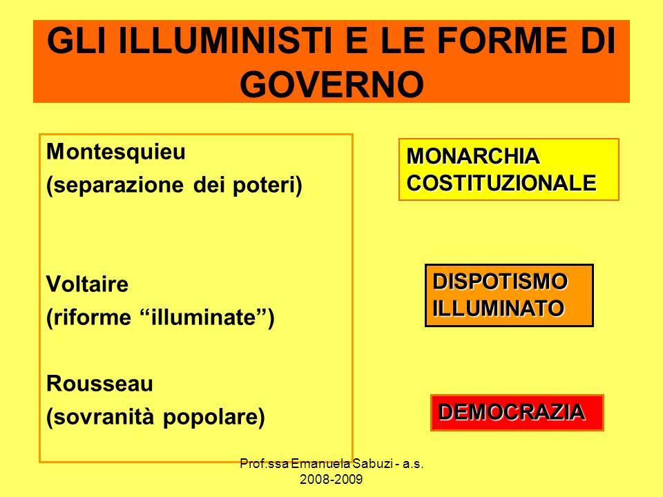 GLI ILLUMINISTI E LE FORME DI GOVERNO Montesquieu (separazione dei poteri) Voltaire (riforme illuminate) Rousseau (sovranità popolare) MONARCHIA COSTI