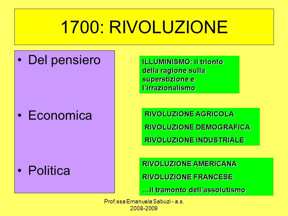 1700: RIVOLUZIONE Del pensiero Economica Politica ILLUMINISMO: il trionfo della ragione sulla superstizione e lirrazionalismo RIVOLUZIONE AGRICOLA RIV