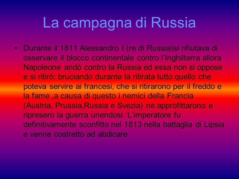 La campagna di Russia Durante il 1811 Alessandro I (re di Russia)si rifiutava di osservare il blocco continentale contro lInghilterra allora Napoleone