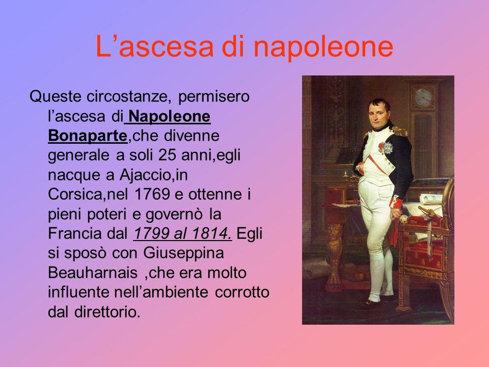 Lascesa di napoleone Queste circostanze, permisero lascesa di Napoleone Bonaparte,che divenne generale a soli 25 anni,egli nacque a Ajaccio,in Corsica