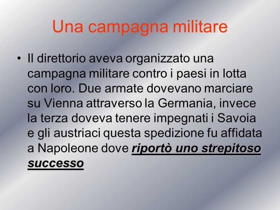 Una campagna militare riportò uno strepitoso successoIl direttorio aveva organizzato una campagna militare contro i paesi in lotta con loro. Due armat