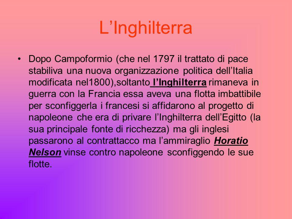 LInghilterra Dopo Campoformio (che nel 1797 il trattato di pace stabiliva una nuova organizzazione politica dellItalia modificata nel1800),soltanto lI