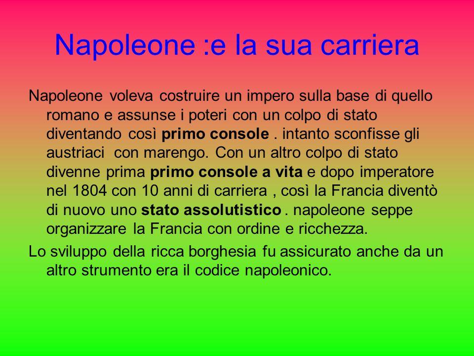 Napoleone :e la sua carriera Napoleone voleva costruire un impero sulla base di quello romano e assunse i poteri con un colpo di stato diventando così