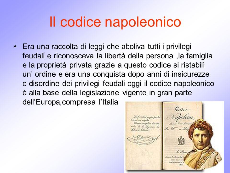Il codice napoleonico Era una raccolta di leggi che aboliva tutti i privilegi feudali e riconosceva la libertà della persona,la famiglia e la propriet
