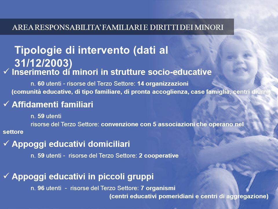 Tipologie di intervento (dati al 31/12/2003) Inserimento di minori in strutture socio-educative n. 60 utenti - risorse del Terzo Settore: 14 organizza