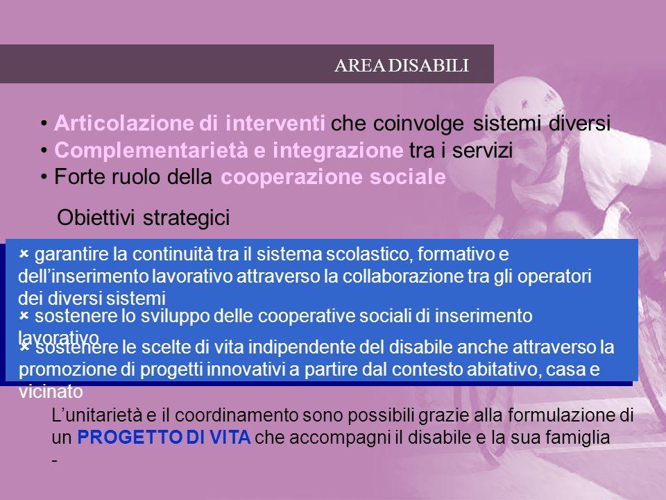 AREA DISABILI Obiettivi strategici Lunitarietà e il coordinamento sono possibili grazie alla formulazione di un PROGETTO DI VITA che accompagni il dis