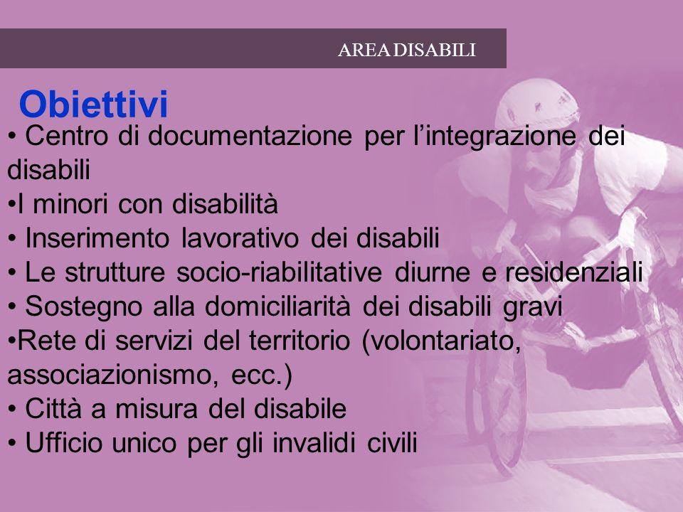 AREA DISABILI Obiettivi Centro di documentazione per lintegrazione dei disabili I minori con disabilità Inserimento lavorativo dei disabili Le struttu