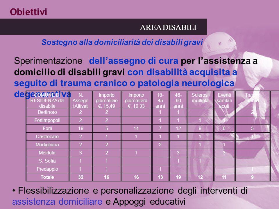 AREA DISABILI Sostegno alla domiciliarità dei disabili gravi Obiettivi Sperimentazione dellassegno di cura per lassistenza a domicilio di disabili gra