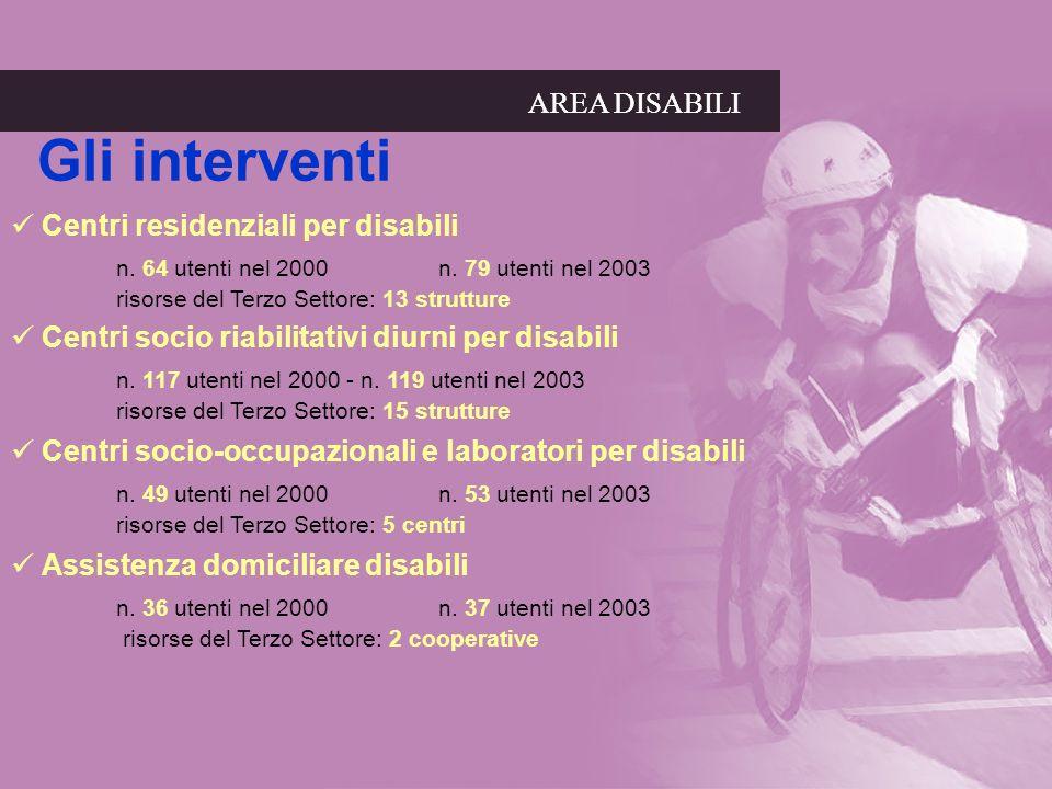 AREA DISABILI Gli interventi AREA DISABILI Centri residenziali per disabili n. 64 utenti nel 2000 n. 79 utenti nel 2003 risorse del Terzo Settore: 13