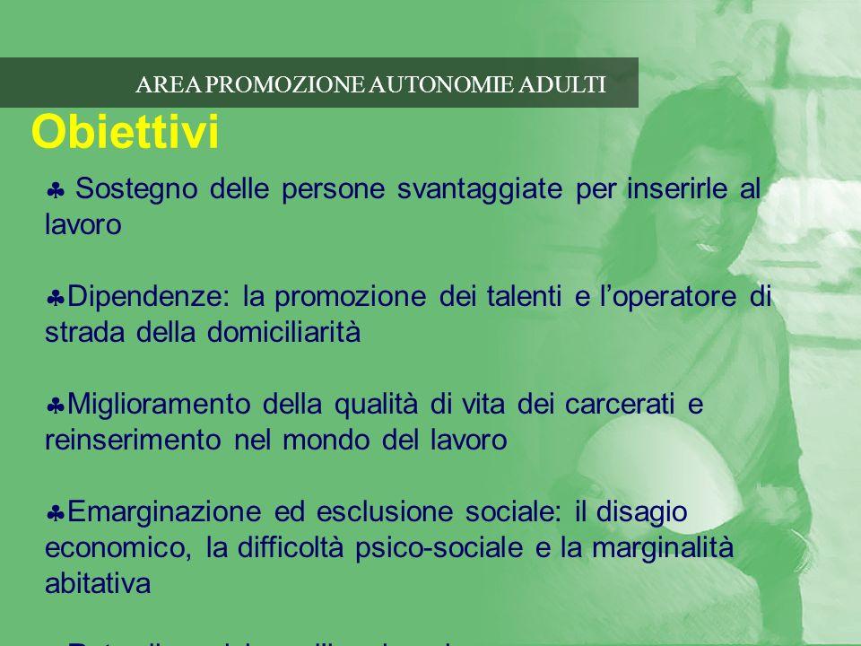 AREA PROMOZIONE AUTONOMIE ADULTI Obiettivi Sostegno delle persone svantaggiate per inserirle al lavoro Dipendenze: la promozione dei talenti e loperat