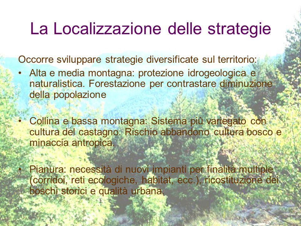 La Localizzazione delle strategie Occorre sviluppare strategie diversificate sul territorio: Alta e media montagna: protezione idrogeologica e natural