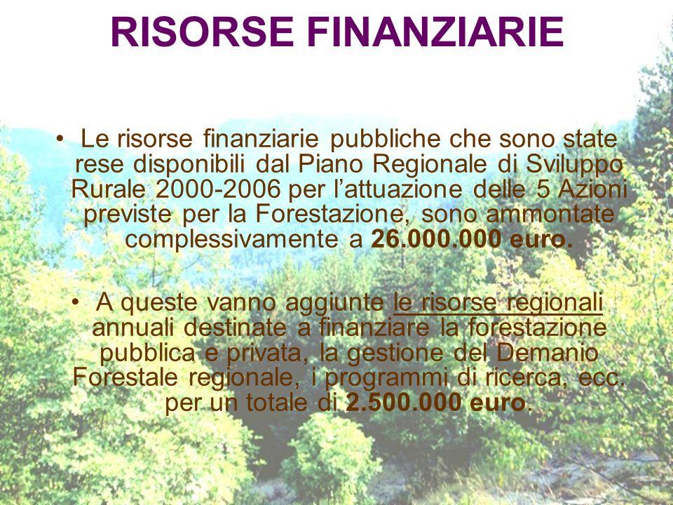 RISORSE FINANZIARIE Le risorse finanziarie pubbliche che sono state rese disponibili dal Piano Regionale di Sviluppo Rurale 2000-2006 per lattuazione