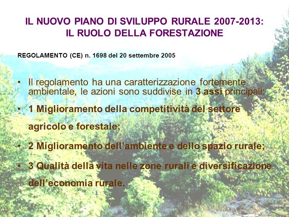 IL NUOVO PIANO DI SVILUPPO RURALE 2007-2013: IL RUOLO DELLA FORESTAZIONE REGOLAMENTO (CE) n. 1698 del 20 settembre 2005 Il regolamento ha una caratter