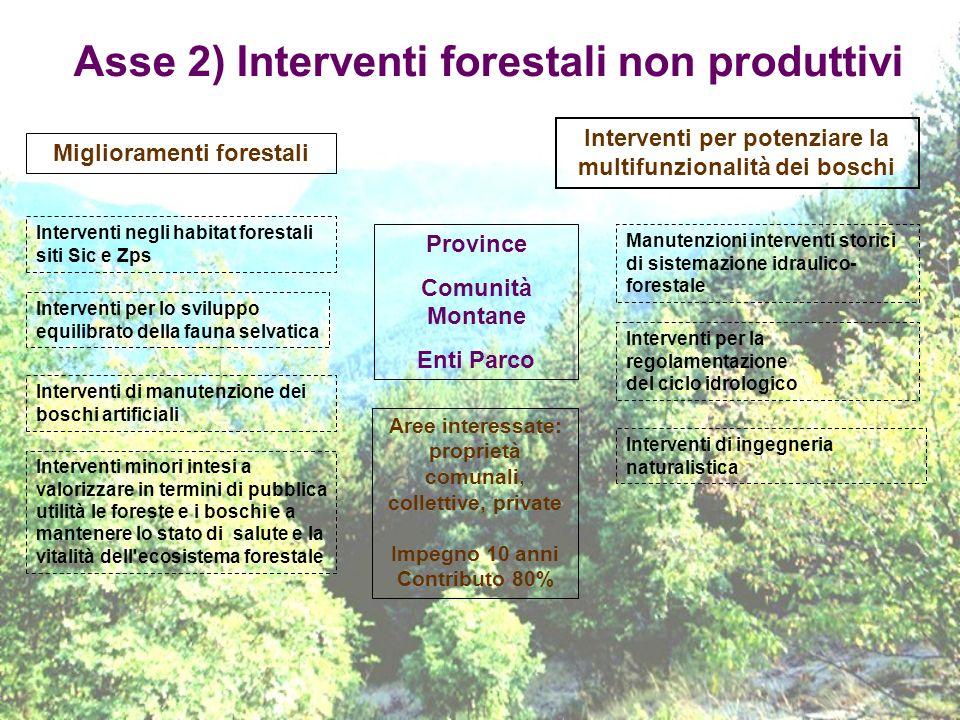 Asse 2) Interventi forestali non produttivi Province Comunità Montane Enti Parco Miglioramenti forestali Interventi per lo sviluppo equilibrato della