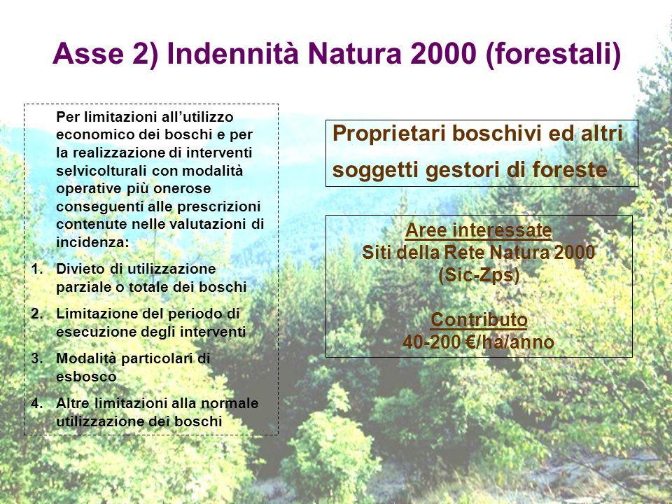 Asse 2) Indennità Natura 2000 (forestali) Proprietari boschivi ed altri soggetti gestori di foreste Per limitazioni allutilizzo economico dei boschi e
