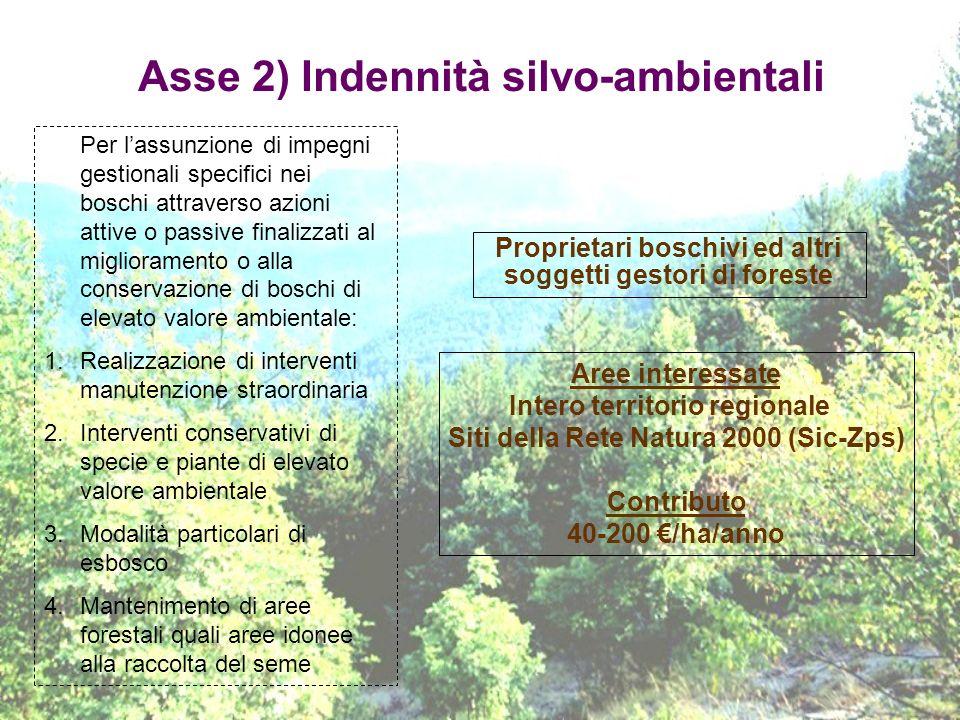 Asse 2) Indennità silvo-ambientali Proprietari boschivi ed altri soggetti gestori di foreste Per lassunzione di impegni gestionali specifici nei bosch