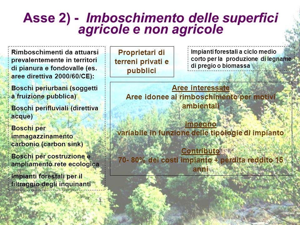 Asse 2) - Imboschimento delle superfici agricole e non agricole Proprietari di terreni privati e pubblici Rimboschimenti da attuarsi prevalentemente i