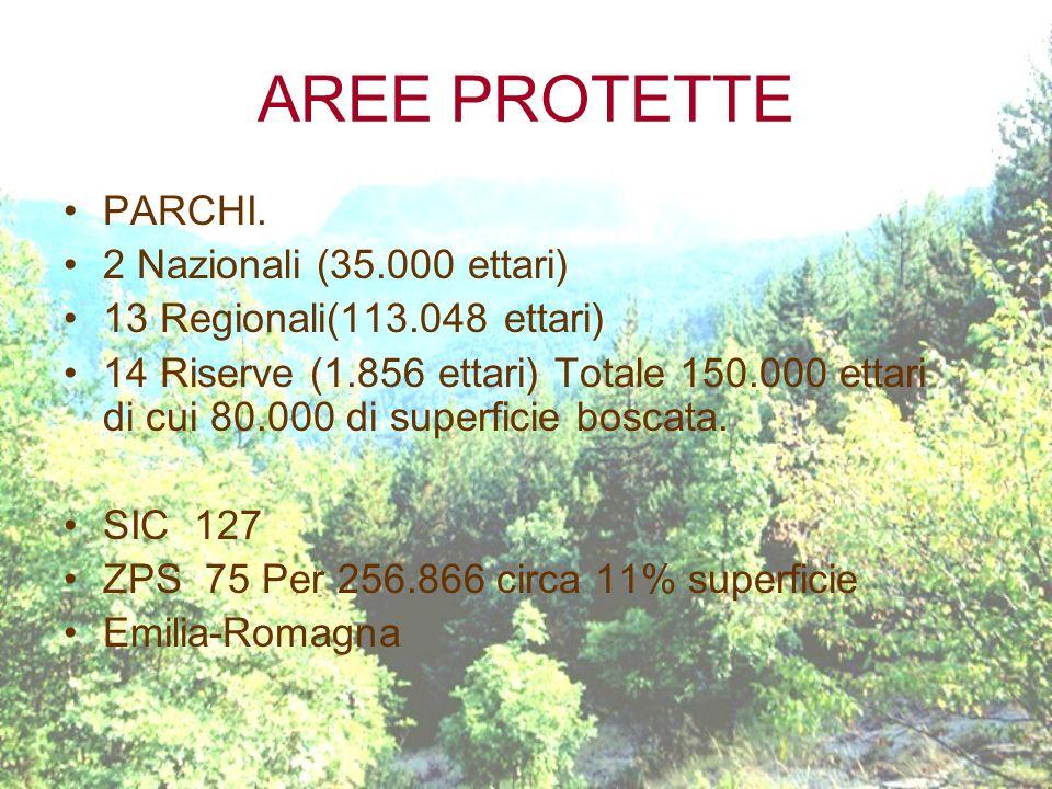 AREE PROTETTE PARCHI. 2 Nazionali (35.000 ettari) 13 Regionali(113.048 ettari) 14 Riserve (1.856 ettari) Totale 150.000 ettari di cui 80.000 di superf