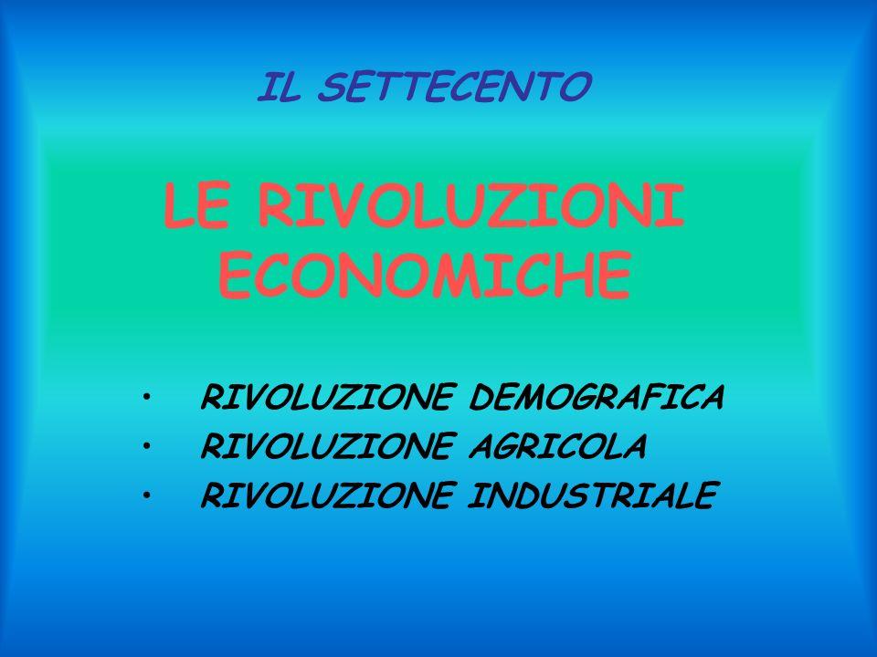 LE RIVOLUZIONI ECONOMICHE RIVOLUZIONE DEMOGRAFICA RIVOLUZIONE AGRICOLA RIVOLUZIONE INDUSTRIALE IL SETTECENTO