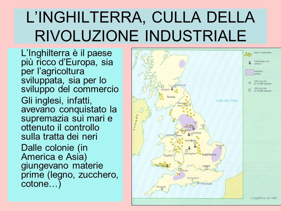 LINGHILTERRA, CULLA DELLA RIVOLUZIONE INDUSTRIALE LInghilterra è il paese più ricco dEuropa, sia per lagricoltura sviluppata, sia per lo sviluppo del