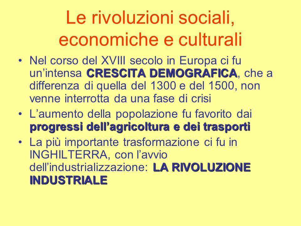 Le rivoluzioni sociali, economiche e culturali CRESCITA DEMOGRAFICANel corso del XVIII secolo in Europa ci fu unintensa CRESCITA DEMOGRAFICA, che a di