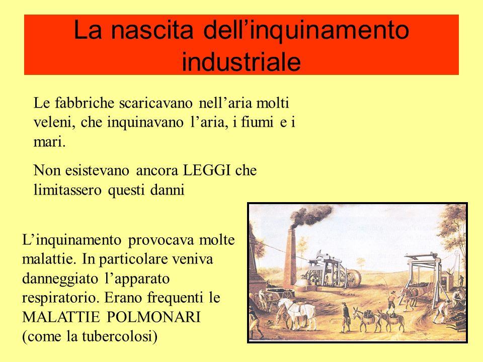 La nascita dellinquinamento industriale Le fabbriche scaricavano nellaria molti veleni, che inquinavano laria, i fiumi e i mari. Non esistevano ancora