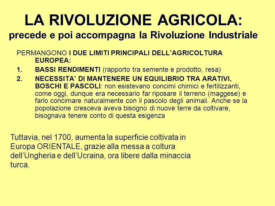 LA RIVOLUZIONE AGRICOLA: precede e poi accompagna la Rivoluzione Industriale PERMANGONO I DUE LIMITI PRINCIPALI DELLAGRICOLTURA EUROPEA: 1.BASSI RENDI