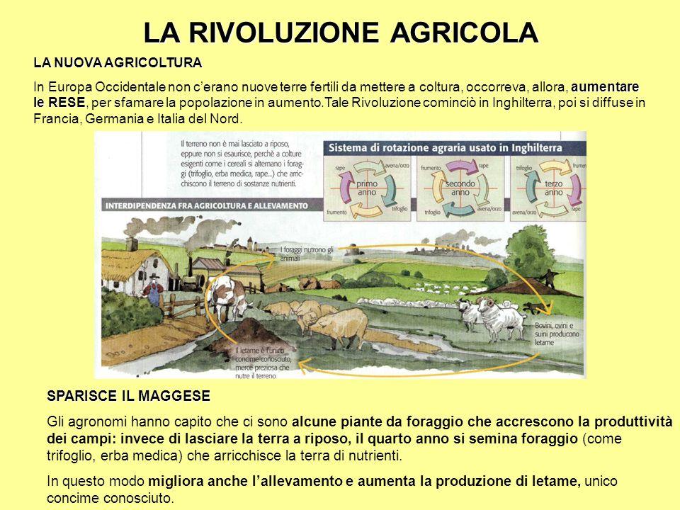 LA RIVOLUZIONE AGRICOLA LA NUOVA AGRICOLTURA aumentare le RESE In Europa Occidentale non cerano nuove terre fertili da mettere a coltura, occorreva, a