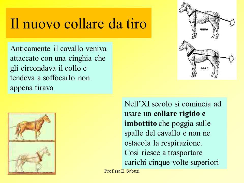 Il nuovo collare da tiro Anticamente il cavallo veniva attaccato con una cinghia che gli circondava il collo e tendeva a soffocarlo non appena tirava