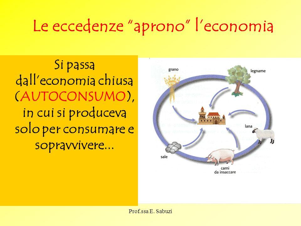 Le eccedenze aprono leconomia Si passa dalleconomia chiusa (AUTOCONSUMO), in cui si produceva solo per consumare e sopravvivere... Prof.ssa E. Sabuzi