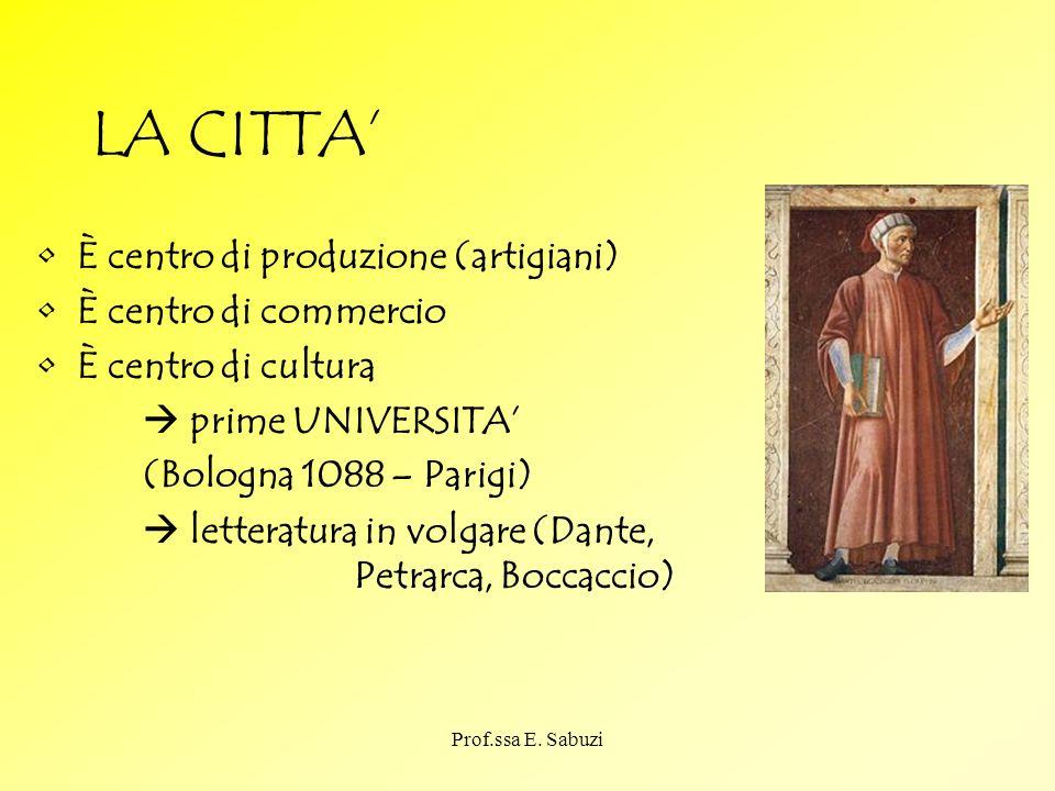 LA CITTA È centro di produzione (artigiani) È centro di commercio È centro di cultura prime UNIVERSITA (Bologna 1088 – Parigi) letteratura in volgare