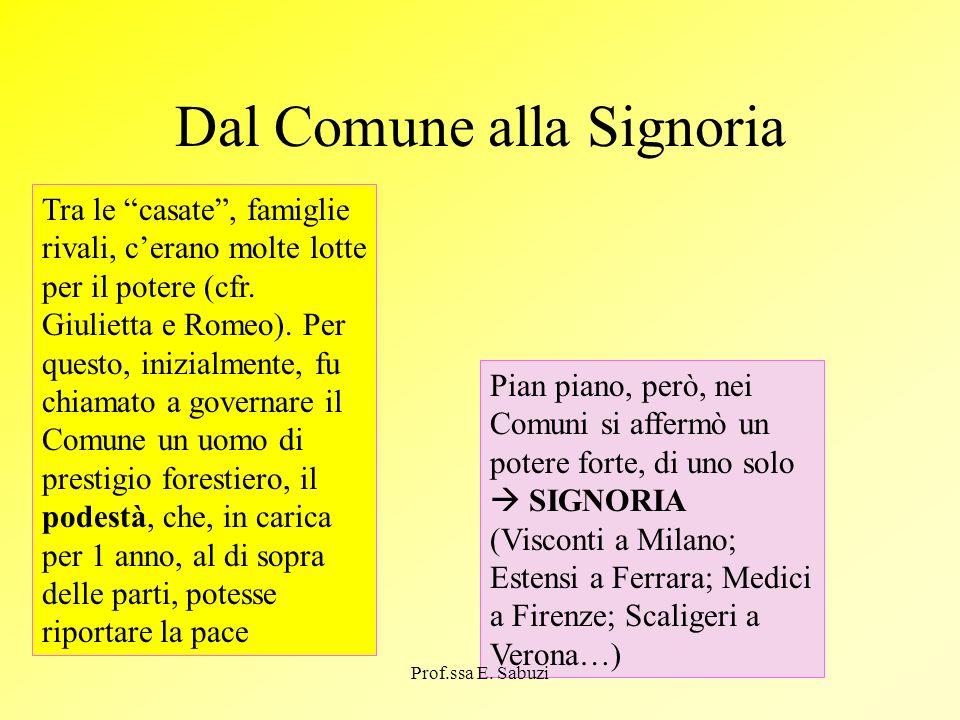 Dal Comune alla Signoria Tra le casate, famiglie rivali, cerano molte lotte per il potere (cfr. Giulietta e Romeo). Per questo, inizialmente, fu chiam