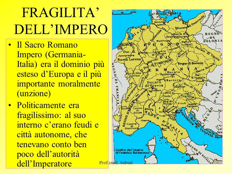 FRAGILITA DELLIMPERO Il Sacro Romano Impero (Germania- Italia) era il dominio più esteso dEuropa e il più importante moralmente (unzione) Politicament