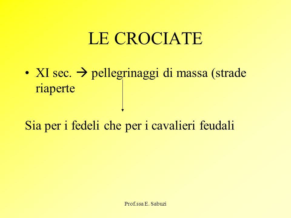 LE CROCIATE XI sec. pellegrinaggi di massa (strade riaperte Sia per i fedeli che per i cavalieri feudali Prof.ssa E. Sabuzi