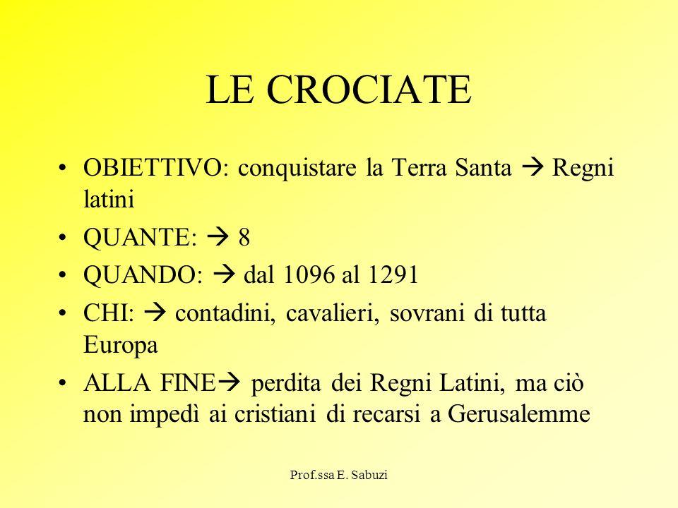 LE CROCIATE OBIETTIVO: conquistare la Terra Santa Regni latini QUANTE: 8 QUANDO: dal 1096 al 1291 CHI: contadini, cavalieri, sovrani di tutta Europa A