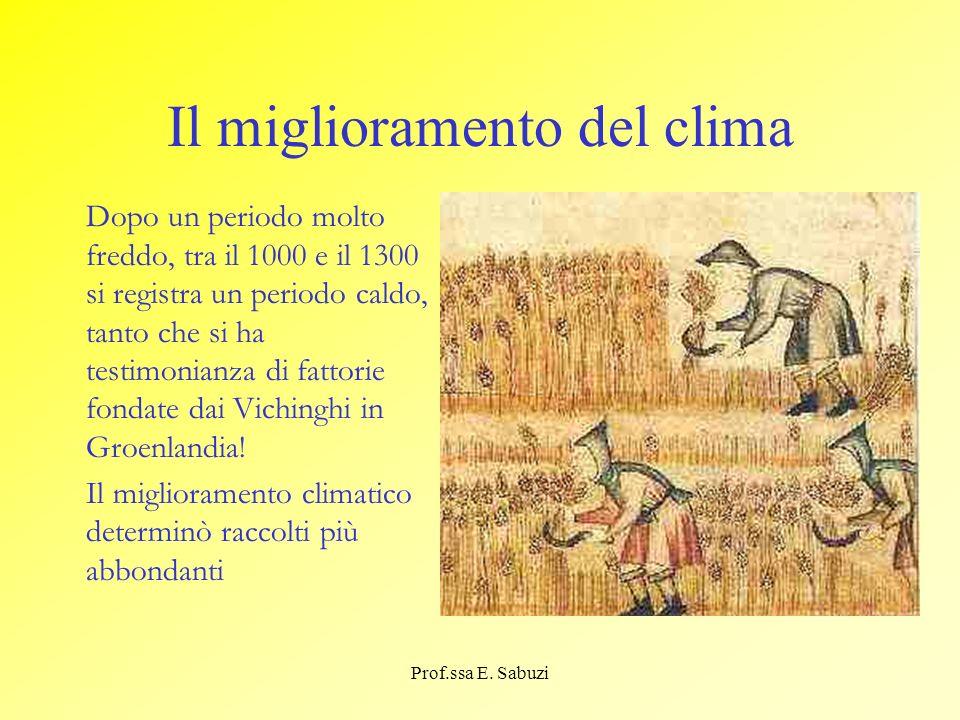 Il miglioramento del clima Dopo un periodo molto freddo, tra il 1000 e il 1300 si registra un periodo caldo, tanto che si ha testimonianza di fattorie
