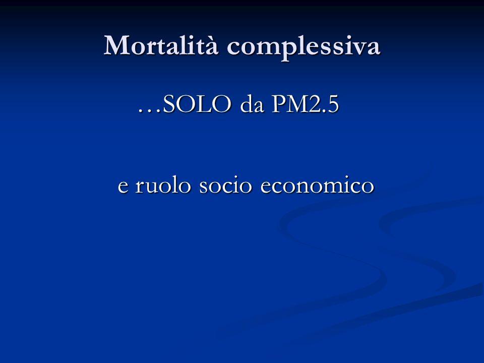 Mortalità complessiva …SOLO da PM2.5 e ruolo socio economico